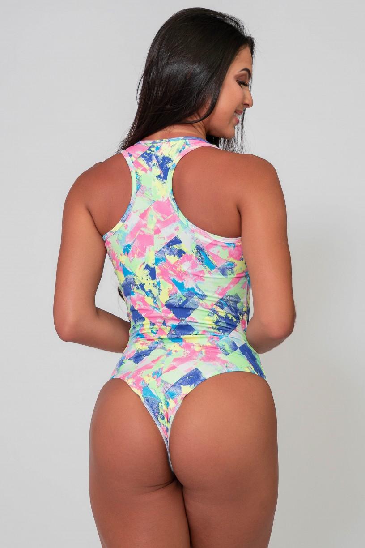 Body Nadador Estampado (Losango Azul Rosa e Verde Limão) | Ref: K2590-D