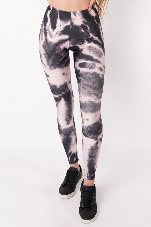 Calça Legging com Elástico Estampa Digital Tie Dye (Rosé / Preto) | Ref: K2695-G