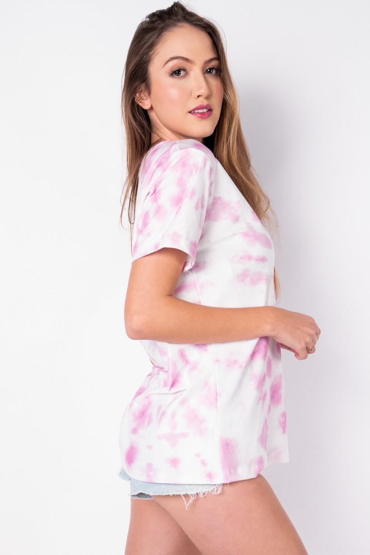 Camisetão Estampa Digital Tie Dye (Rosa / Branco)   Ref: K2696-E