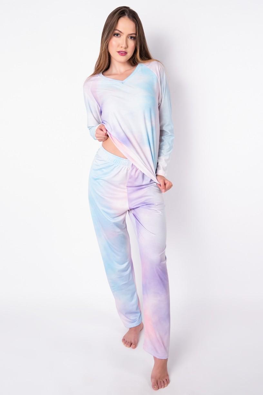 Pijama de Manga Longa Raglan Estampa Digital (Tie Dye 2) | Ref: K2777