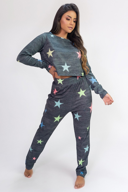 Pijama Cropped de Manga Longa e Calça Estampa Digital (Stars) | Ref: K2814
