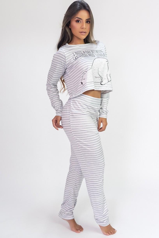 Pijama Cropped de Manga Longa e Calça Estampa Digital (Polar Bear)   Ref: K2816