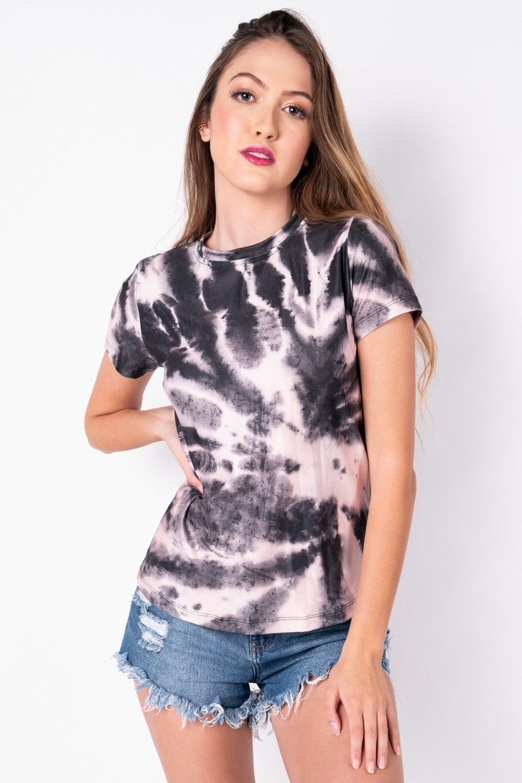 Blusa Básica com Nozinho Estampa Digital Tie Dye (Rosê / Preto) | Ref: K2829-G
