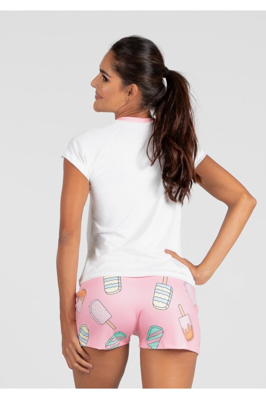 Pijama de Manga Curta e Short Estampa Digital (Popsicle Pink)   Ref: K2991-A