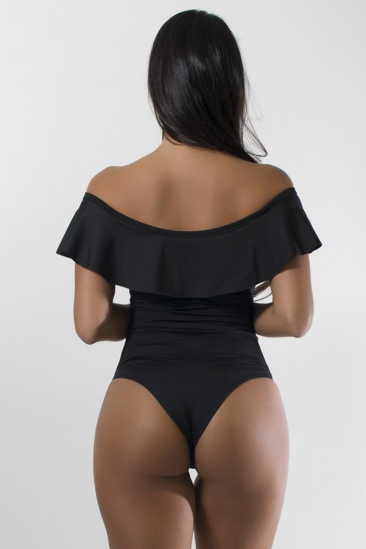 Body Liso com Babado (Preto) | Ref: KS-F2207-001