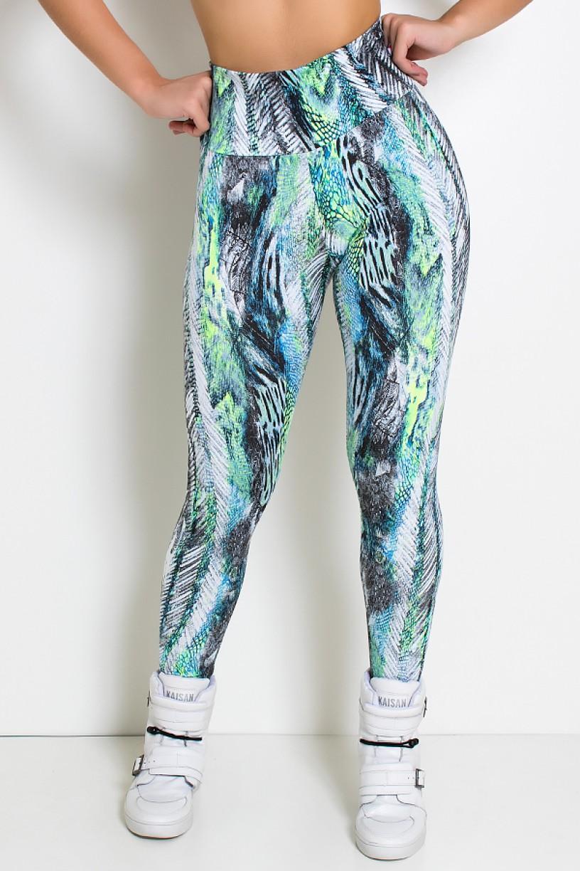 Legging Estampada (Penas Cinza Azul e Verde) | Ref: KS-F27-093