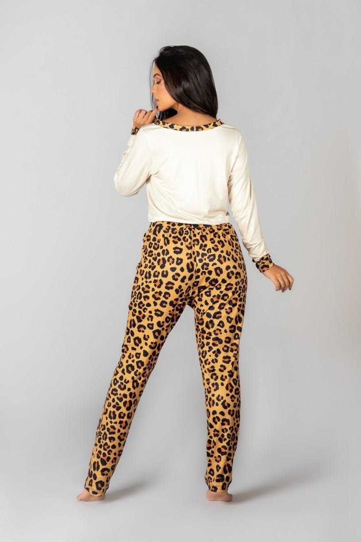 Pijama Cropped de Manga Longa e Calça Estampa Digital (Oncinha)   Ref: K2992-A