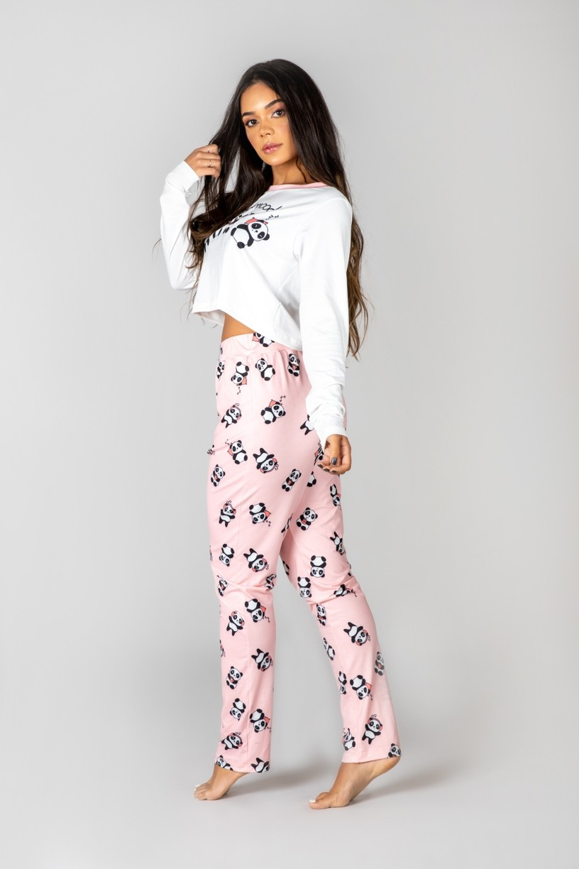 Pijama Cropped de Manga Longa e Calça Estampa Digital (Panda Mood)   Ref: K2993-A