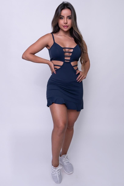 Vestido com Bojo e Detalhe em Tiras | Poliamida Excelente! | (Azul Marinho) | Ref: KS-PL30-001