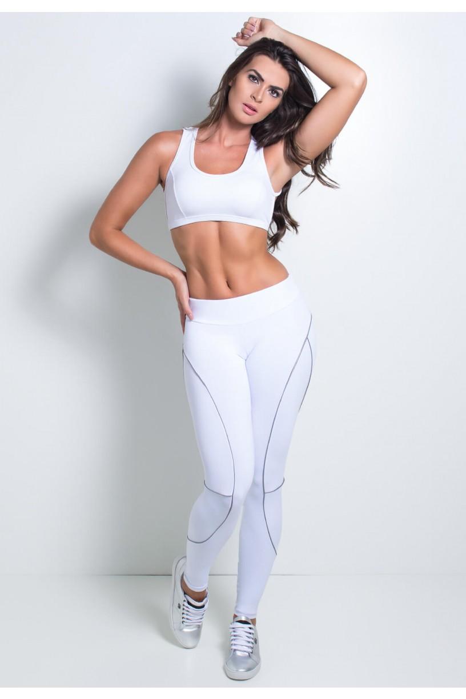 Calça Lisa com Vivo Refletivo   Poliamida Excelente!   (Branco)   Ref: KS-PL45-001