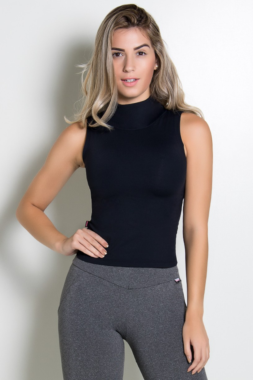 Camiseta Gola Alta Lisa | Poliamida Excelente! | (Preto) | Ref: KS-PL64-001