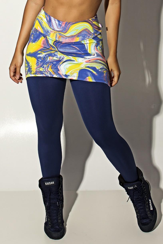 Calça Legging Lisa com Tapa Bumbum Estampado (Borrado Azul Salmão e Verde Limão) | Ref: F1476