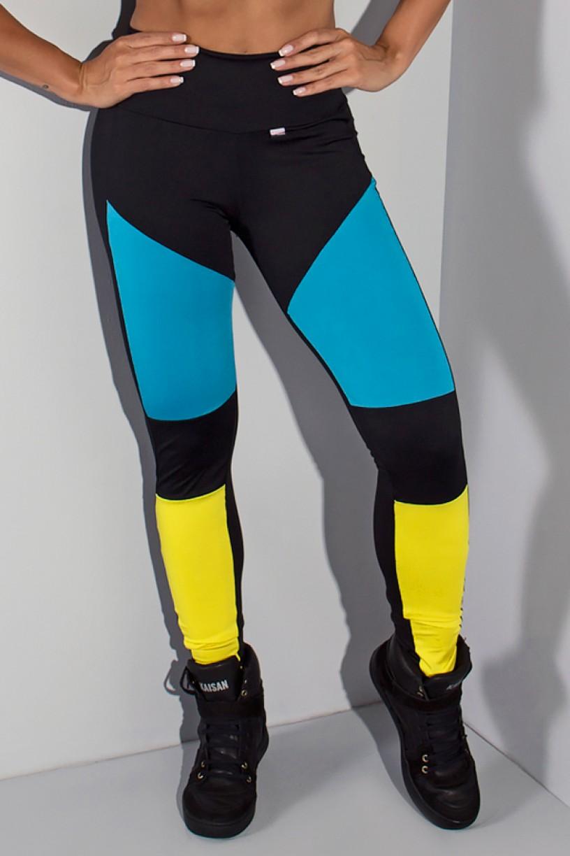 Calça Legging Três Cores (Preto / Azul Celeste / Amarelo) | Ref: KS-F1683-001