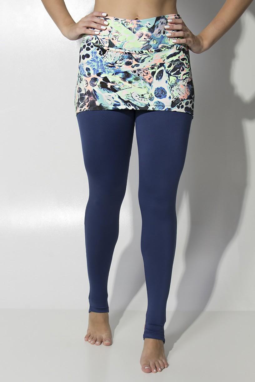 Calça Legging Lisa com Tapa Bumbum Estampado (Abstrato Azul Verde e Laranja Flúor)