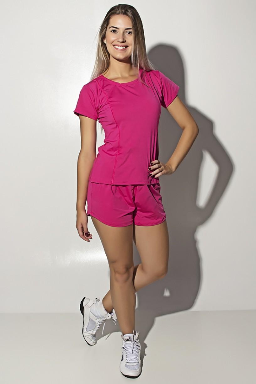 Conjunto Camisa + Short de Microlight (Rosa Pink) | Ref: KS-F861-006