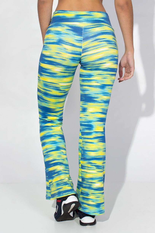 Calça Flare (Boca de Sino) Estampada (Mescla Amarelo e Azul) | Ref: KS-F166-004