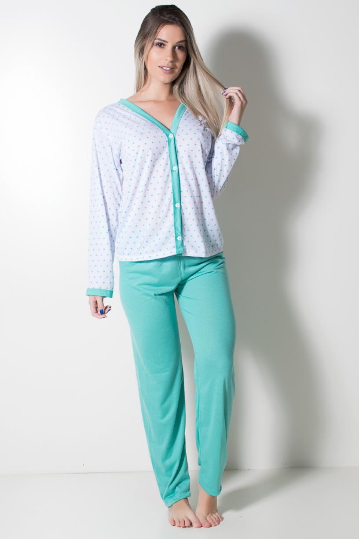 Pijama feminino longo 182 (Verde Piscina com Estrela) | Ref: CEZ-PA182-012