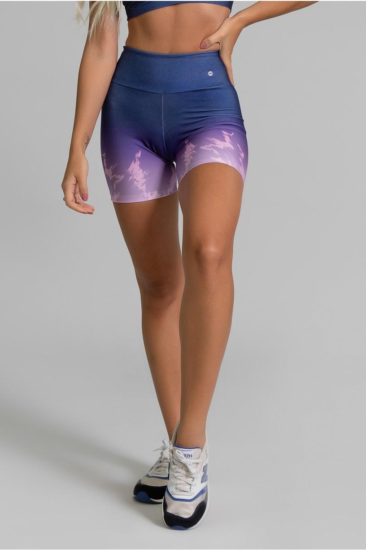 Short Fitness Meia Perna Estampa Digital Light Purple   Ref: GO360