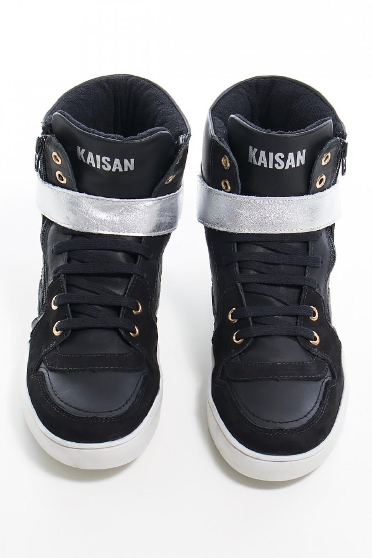 Sneaker Unissex Preto com Prata (Sola Branca)   Ref: KS-T35-002