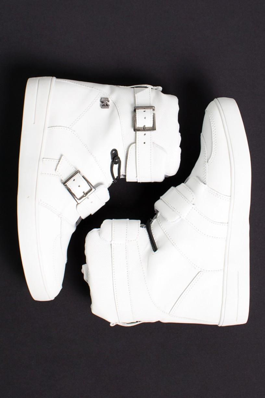 Sneaker Cano Alto com Fivela e Elástico (Branco) | Ref: KS-T49-001