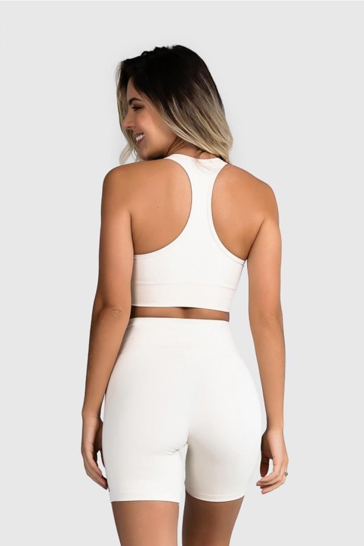 Top Fitness com Silk Waves (Off-White / Amarelo Neon + Preto) | Ref: GO25-C