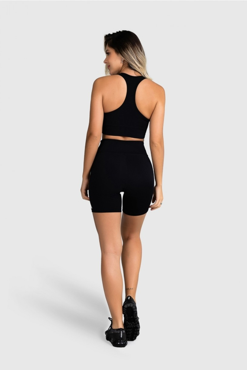 Top Fitness com Silk Waves (Preto / Laranja Neon + Off-White) | Ref: GO25-A
