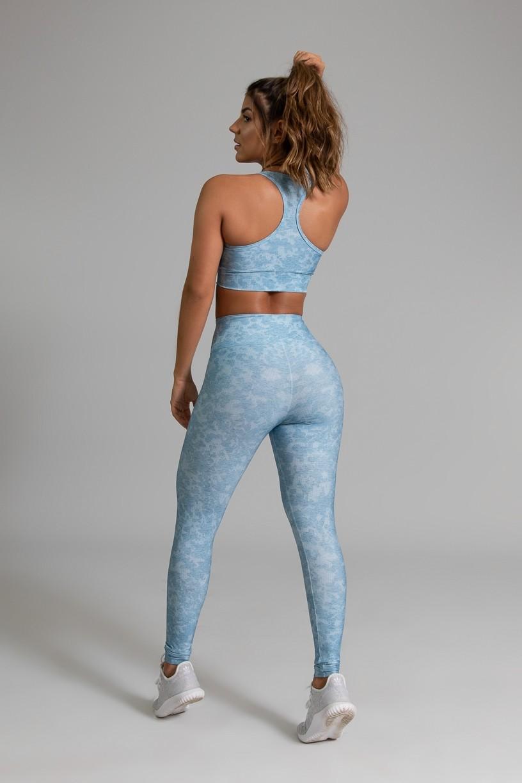 Top Nadador Fitness com Viés Estampa Digital Blue Lace   Ref: GO368