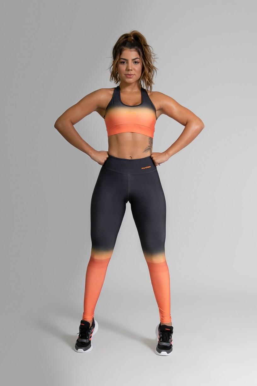 Top Nadador Fitness com Viés Estampa Digital Orange Mix   Ref: GO366