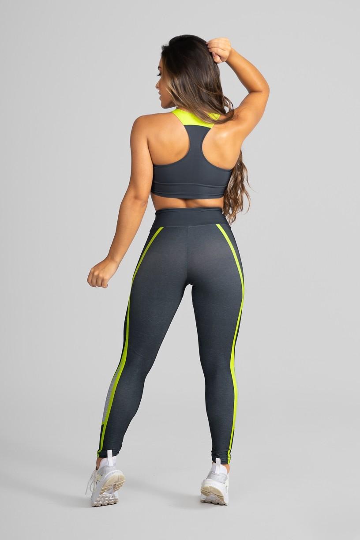 Top Nadador Fitness Estampa Digital Yellow Strings   Ref: GO264