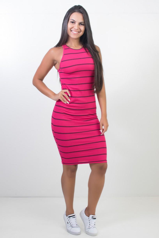 Vestido Listrado Midi Comprido (Pink)   Ref: CEZ-CZ601-003
