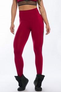Calça Legging com Detalhe em Elástico Rendado (Vinho) | Ref: K2426-B