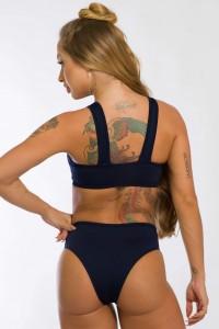 Body Cavado com Detalhe em Tule (Azul Marinho)   Ref: K2437-C