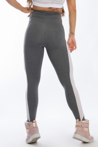 Calça Legging com Detalhe em Tela (Mescla / Branco)   Ref: K2427-B