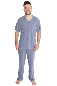 Pijama Mas. Manga Curta 091 (Azul acinzentado) | Ref: CEZ-PM01-002