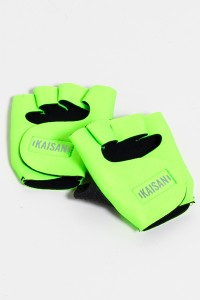 Luva para Academia Unissex (Verde Limão)   Neoprene   Logo Refletiva Kaisan   (O Par)   Ref: KS-F48-005
