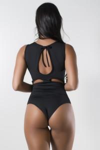 Body Liso de Amarrar com Detalhe Aberto (Preto) | Ref: KS-F1775-001