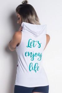 Regata Viscolycra com Capuz e Silk (Let's Enjoy Life)   (Branco)   Ref: KS-PL49-002