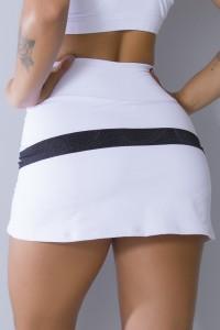 Short Saia Com Detalhe Refletivo (Branco / Preto)   Ref: SRT119-002/001/000