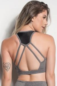 Top Mescla Com Detalhe Em Textura E Tiras Nas Costas (Mescla / Preto) | Ref: TPP251-018/001/000