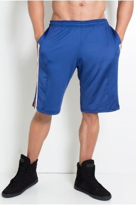 Bermuda Masculina Lisa com Bolso e Listras (Azul Marinho / Branco / Laranja) | Ref: KS-H02-001