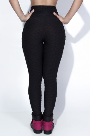 Calça Legging Tecido Bolha (Preto) | Ref: KS-F103-005