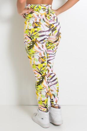 Legging Estampada Branco com Folhagem Colorida | Ref: KS-F27-031