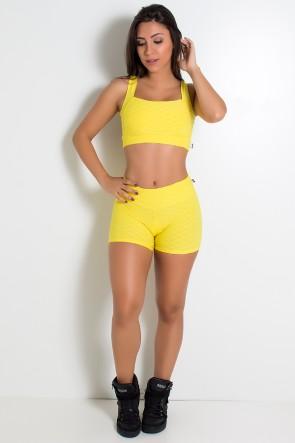 Conjunto Top e Shortinho Tecido Bolha (Amarelo) | Ref: KS-F862-001