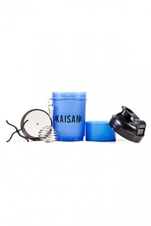 Coqueteleira de 500 ML com Mola e 2 Compartimentos (Azul Fumê / Preto) | Ref: KS-CK02-006