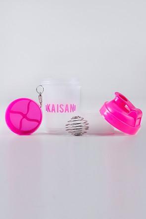 Coqueteleira de 500 ML com Mola e 2 Compartimentos (Transparente / Rosa com Glitter) | Ref: KS-CK02-008