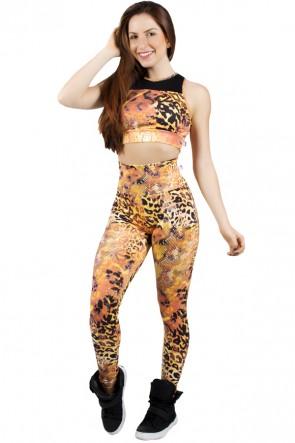 Conjunto Cropped Estampado com Detalhe Liso + Legging Estampada Escama Laranja e Amarelo | Ref: F852