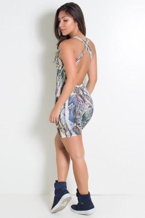 Macaquinho Angelina com Abertura no Peito (Penas Bege Azul Verde e Vinho) | Ref: KS-F09-005