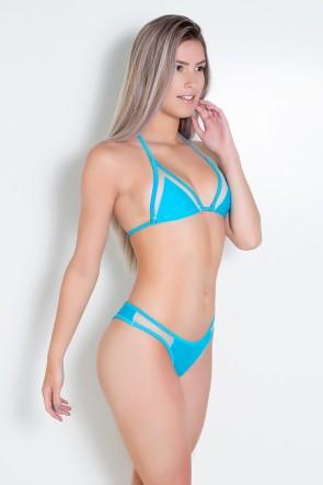 Biquini Liso com Tule (Azul Celeste)   Ref: DVBQ07-002