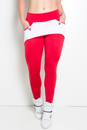 Calça Katherine com Bolso em Detalhe Dry Fit (Vermelho / Branco) | Ref: KS-F690-002