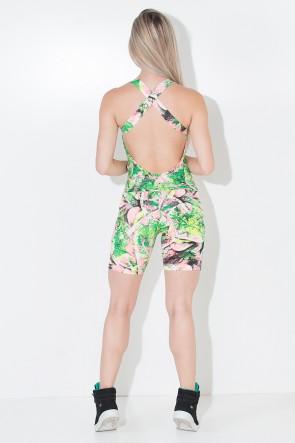 Macaquinho Angelina com Abertura no Peito (Folha Verde e Rosa) | Ref: KS-F09-002